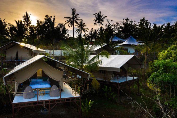 Pemandangan glamping resort Autentik Nusa Penida dikelilingi hutan belantara.