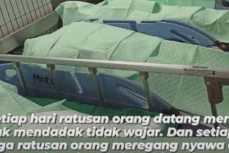 Foto yang viral di media sosial memperlihatkan sejumlah jenazah yang berada di IGD RSUD dr Soetomo Surabaya.