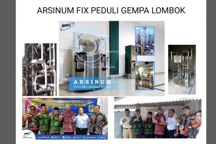 Badan Pengkajian dan Penerapan Teknologi (BPPT) membantu korban gempa Lombok dengan mengirimkan teknologi Arsinum.