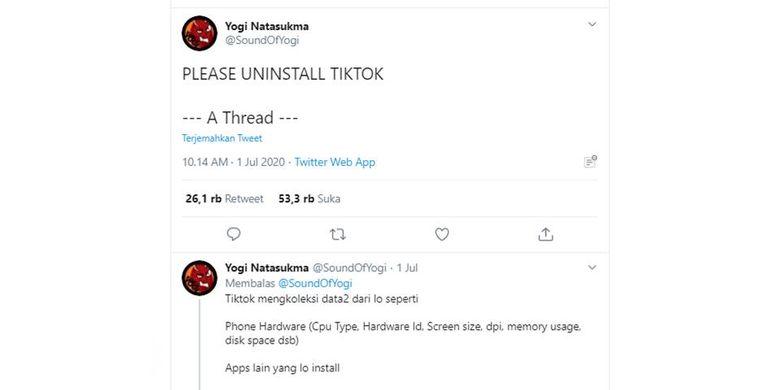 Tangkapan layar thread soal TikTok yang menggunakan data penggunanya