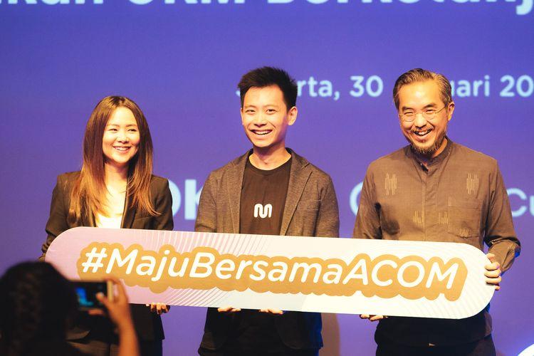 Jacqueline Karina Owner Kokumi, Haryanto Tanjo CEO & Co-Founder Moka, Leonard Theosabrata Direktur Utama Lembaga Layanan Pemasaran KUKM (SMESCO) pada Peresmian A Cup of Moka 2020 untuk Mendigitalisasi UKM Berkelanjutan di Indonesia.