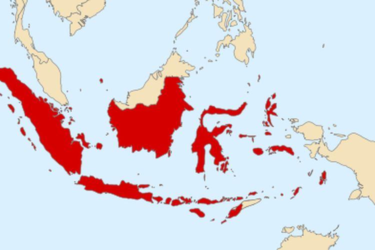 Peta Republik Indonesia Serikat ketika Indonesia terbagi menjadi beberapa negara federal atau negara boneka bentukan Belanda.