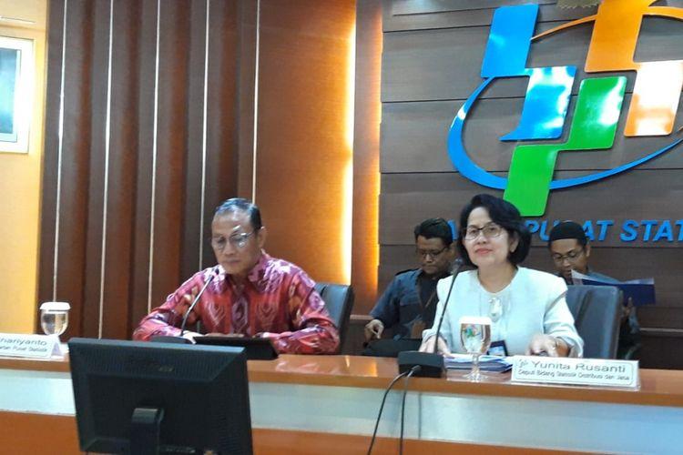 Kepala Badan Pusat Statistik (BPS) Suhariyanto ketika memberikan paparan di kantornya, Senin (3/12/2018).