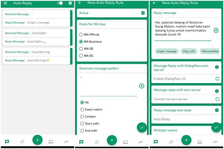 Cara membuat pesan balasan otomatis WhatsApp Business lewat aplikasi Auto Reply.