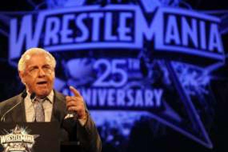 Eks pegulat WWE, Ric Flair, menjalani konferensi pers di New York, 31 Maret 2009.
