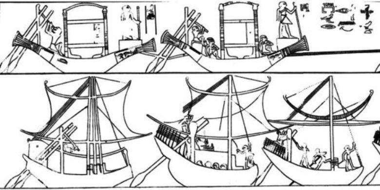 Sistem kemudi serupa, dari relief Deir el-Gebrâwi berusia2325-2155 SM.