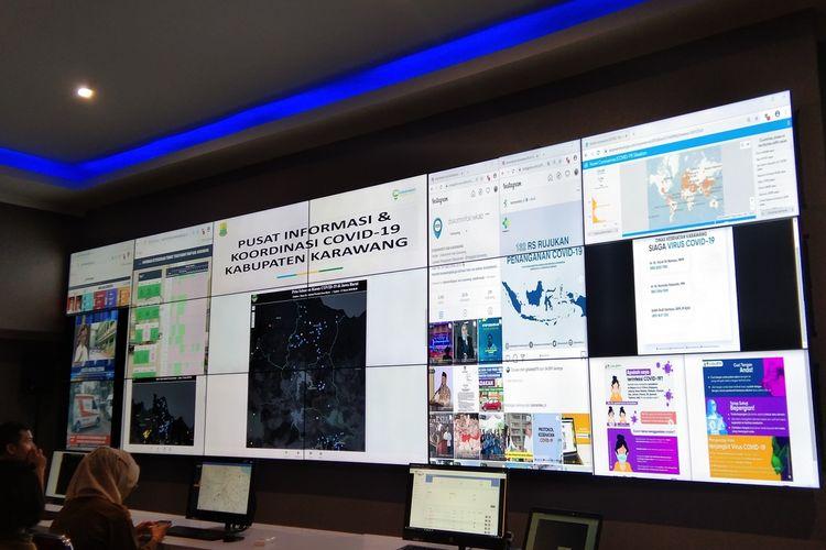 Command Center Pemkab Karawang sebagai pusai informasi  dan koordinasi Covid-19 di Karawang.