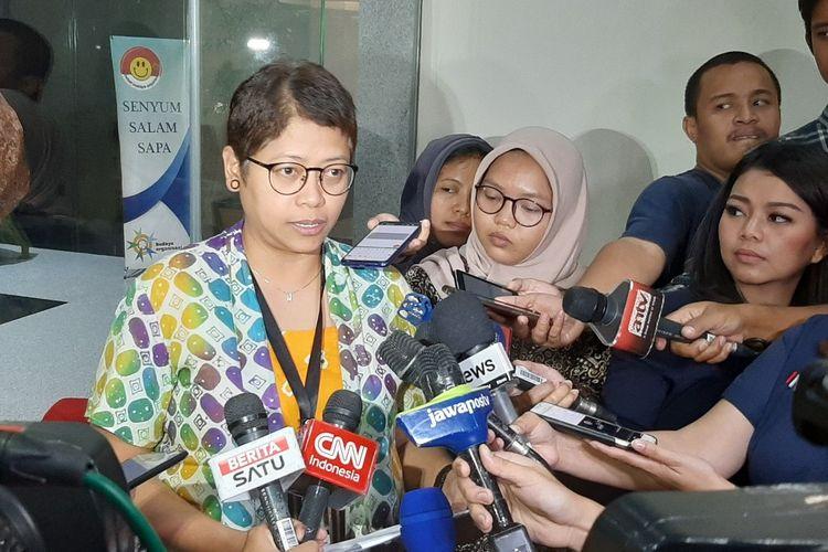 Plh Kepala Biro Humas KPK Yuyuk Andriati Iskak di Gedung Merah Putih KPK, Selasa (19/11/2019).
