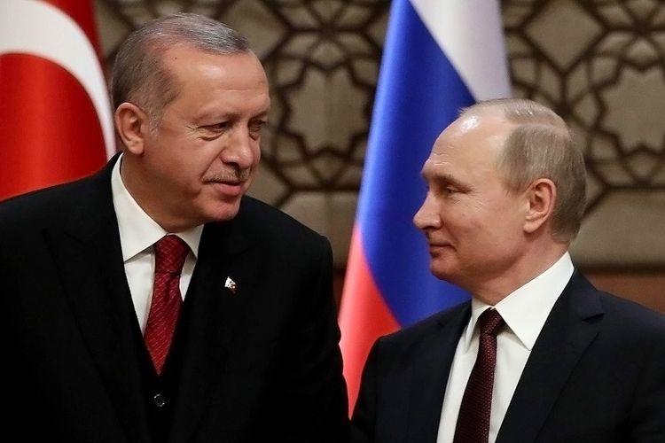Presiden Turki Recep Tayyip Erdogan dan Presiden Rusia Vladimir Putin.