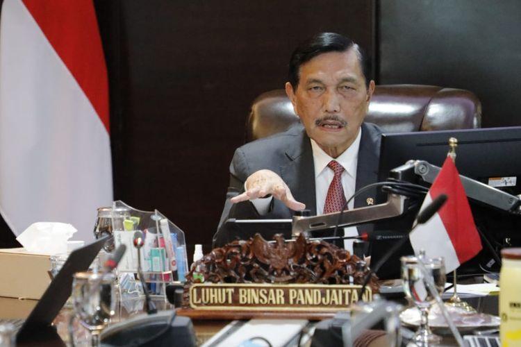 Menteri Koordinator Bidang Kemaritiman dan Investasi Luhut Binsar Pandjaitan menjadi pembicara webinar virtual yang bertajuk Investasi Negara-Negara Islam di Indonesia, Jakarta, Kamis (1/10/2020).