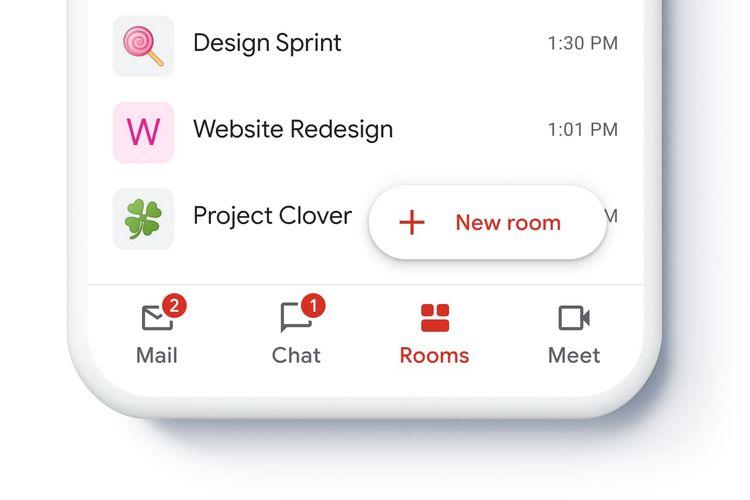 Fitur Chat, Rooms, dan Meet di aplikasi Gmail.
