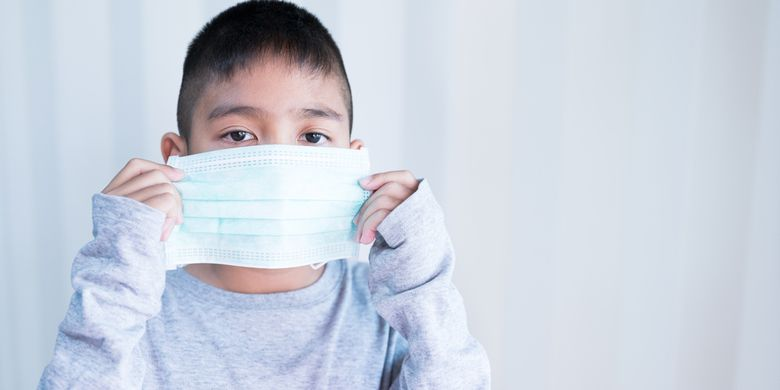 Ilustrasi anak-anak dengan virus corona