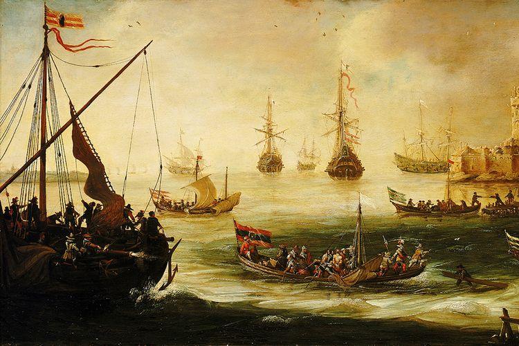 Ilustrasi kedatangan bangsa Spanyol di Indonesia.