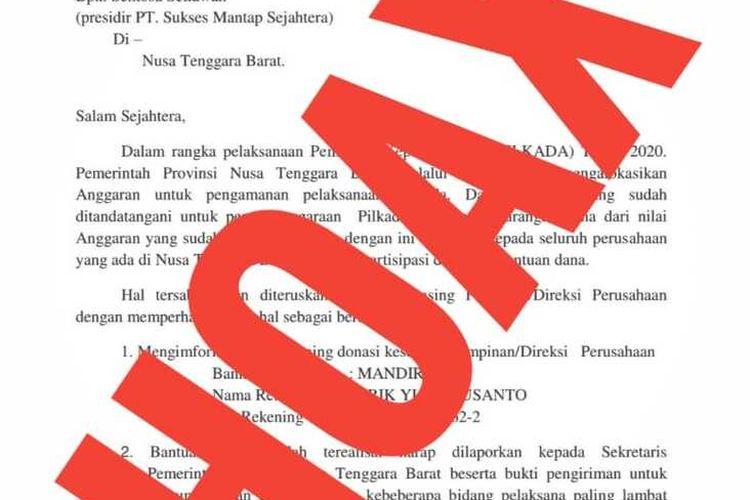 Beredar surat palsu yang mencatut nama Gubernur NTB Zulkieflimansyah yang meminta sejumlah dana untuk pengamanan Pilkada 2020.