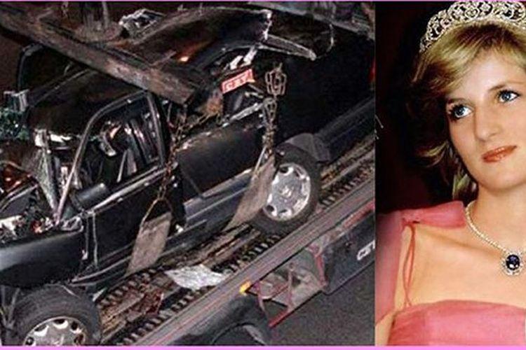 Kolase foto Putri Diana dan mobil Mercedes yang ditumpanginya saat kecelakaan di Paris pada 31 Agustus 1997, yang menewaskan dirinya.