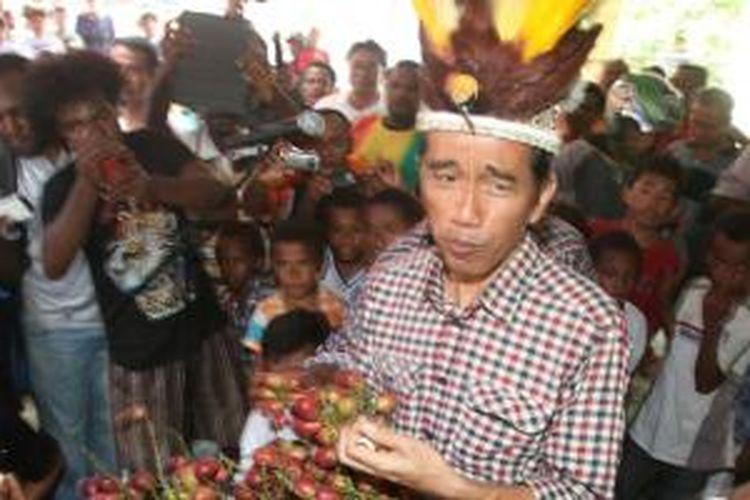 Calon presiden Joko Widodo (Jokowi) mencoba buah asli Papua, Matoa saat berkunjung di Desa Yoka, Distrik Heram, Jayapura, Kamis (5/6/2014). Pasangan calon presiden dan wakil presiden, Jokowi-Jusuf Kalla (JK) akan memulai masa kampanye dari dua lokasi berbeda. Jokowi dijadwalkan memulai kampanye dari ujung timur, dan JK dari ujung barat Indonesia.