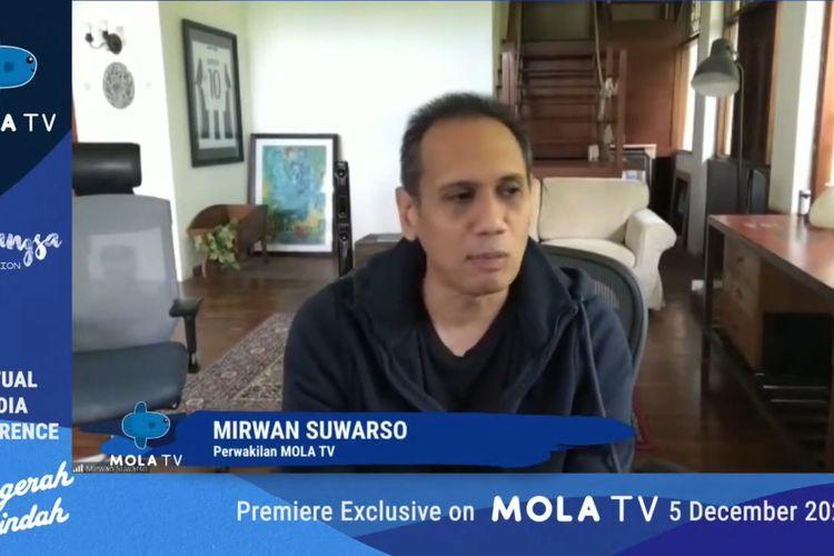 Mirwan Suwarso, perwakilan Mola TV dalam jumpa pers jelang penanyangan teater musikal Anugerah Terindah