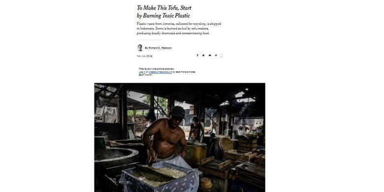 Pemberitaan New York Times mengenai penggunaan limbah plastik sebagai bahan bakar.
