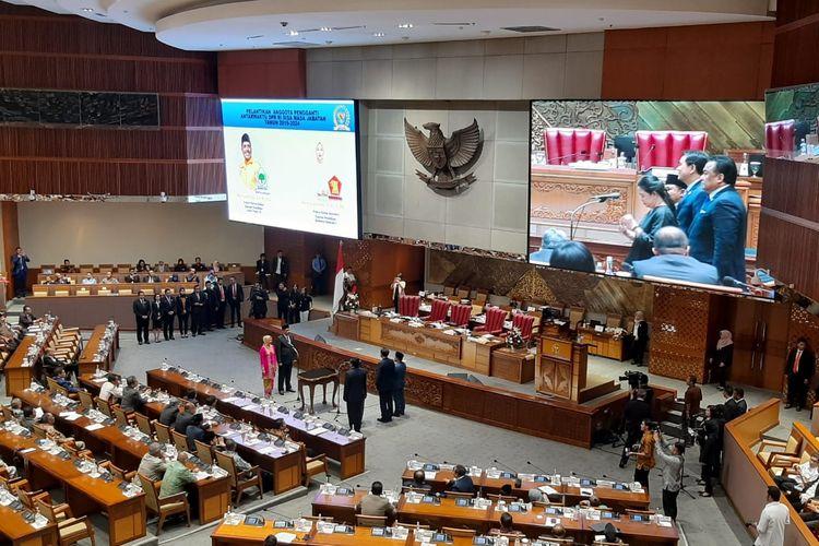 Pelantikan PAW untuk Edhy Prabowo dan Zainuddin Amali dalam rapat paripurna di DPR, Senayan, Jakarta, Rabu (22/1/2020).