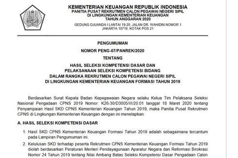 Hasil SKD CPNS Kementerian Keuangan Diumumkan, Ini Rinciannya