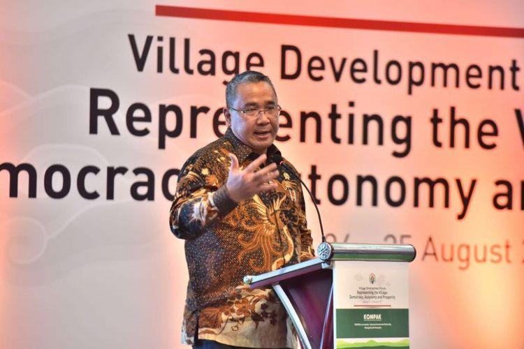 Menteri Desa, Pembangunan Daerah Tertinggal dan Transmigrasi, Eko Putro Sandjojo dalam forum Village Development Forum.