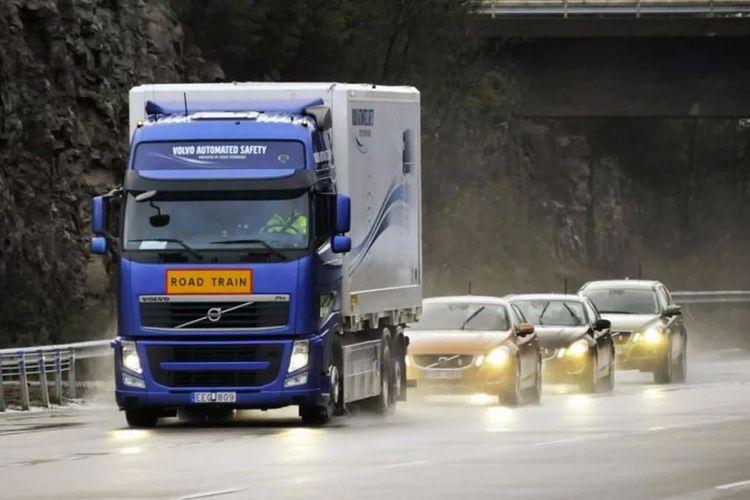 Ilustrasi slipstream di belakang truk