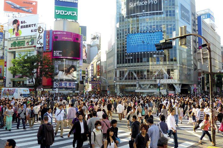 Ilustrasi keramaian di Shibuya, Jepang