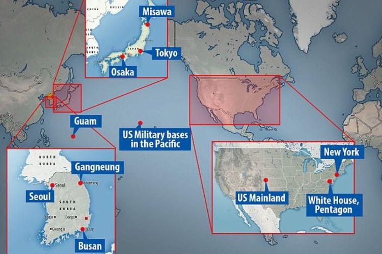 Peta ini memperlihatkan beberapa kota dan wilayah yang menjadi target serangan nuklir Korea Utara.