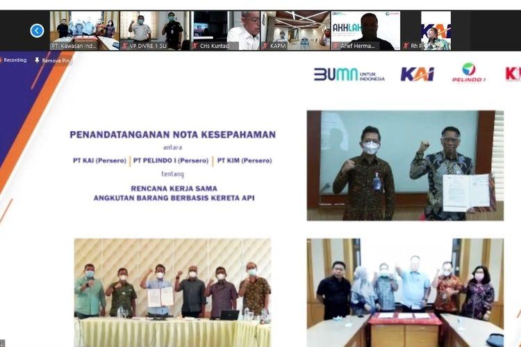 Tiga BUMN menandatangani Nota Kesepahaman tentang Rencana Kerja Sama Angkutan Barang Berbasis Kereta Api di wilayah Sumatera Utara, Kamis (26/11/2020)