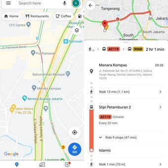 Ilustrasi navigasi Google Maps dengan transportasi umum