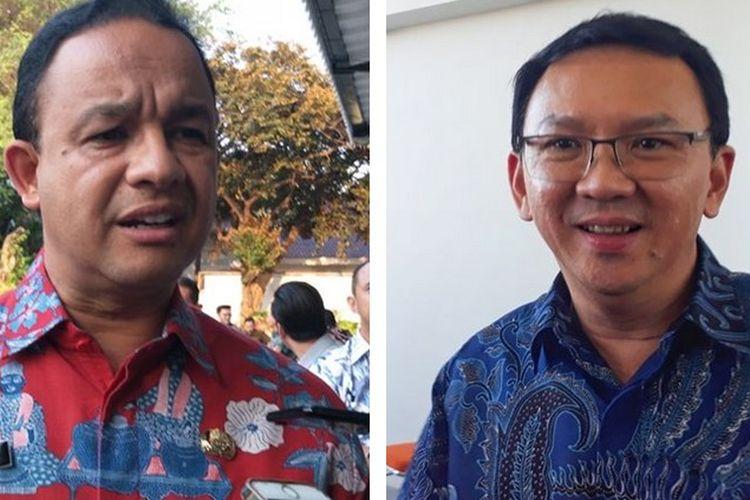 Anies Baswedan (kiri) dan Basuki Tjahaja Purnama (Ahok) (kanan)