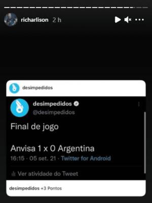 Richarlison terlihat menyindir timnas Argentina usai batal bertanding melawan Brasil di Kualifikasi Piala Dunia 2022.