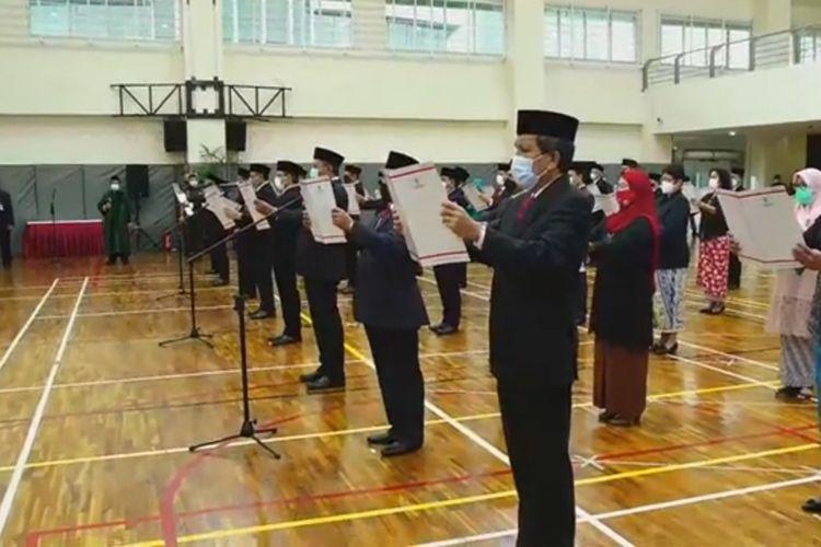 Suasana pelantikan pejabat struktural KPK di Gedung Merah Putih KPK, Selasa (5/1/2021).