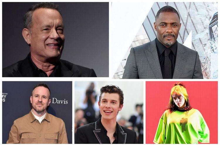 Kolase foto Tom Hanks, Idris Elba, Ricky Redd, Shawn Mendes, dan Billie Eilish