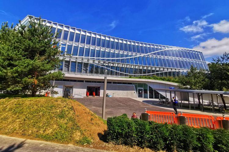 Salah satu bagian bangunan Olympic House di Lausanne, Swiss.