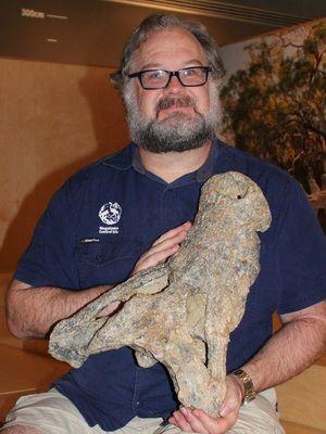 Dr Yates dengan temuan tengkorak buaya berusia 8 juta tahun di Australia.