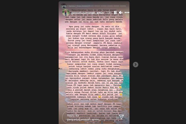Tangkapan layar Instagram Sstory berisi klarifikasi dan permohonan maaf Ustaz Amin yang dikecam netizen Malaysia karena berfoto bareng selebgram seksi (Instagram/pencetusummah_amin)