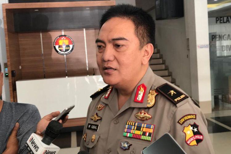 Kepala Biro Penerangan Masyarakat (Penmas) Divisi Humas Mabes Polri Brigjen Pol Muhammad Iqbal  saat menemui wartawan di Mabes Polri, Jakarta, Senin (6/8/2018).