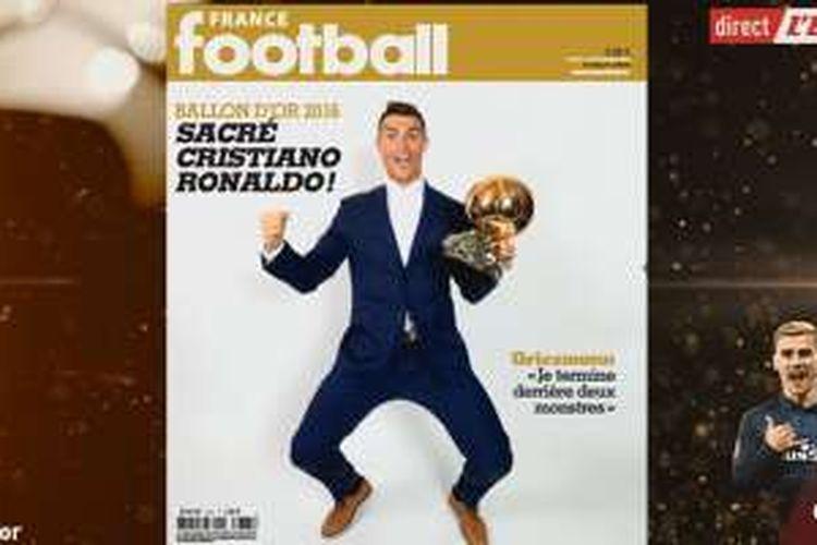France Football mengumumkan Cristiano Ronaldo menjadi pemenang Ballon d'Or 2016, mengalahkan Lionel Messi dan Antoine Griezmann. Pengumuman tersebut dilakukan pada Senin (12/12/2016).
