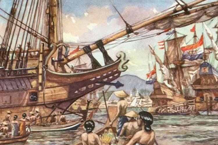 ilustrasi perahu VOC.