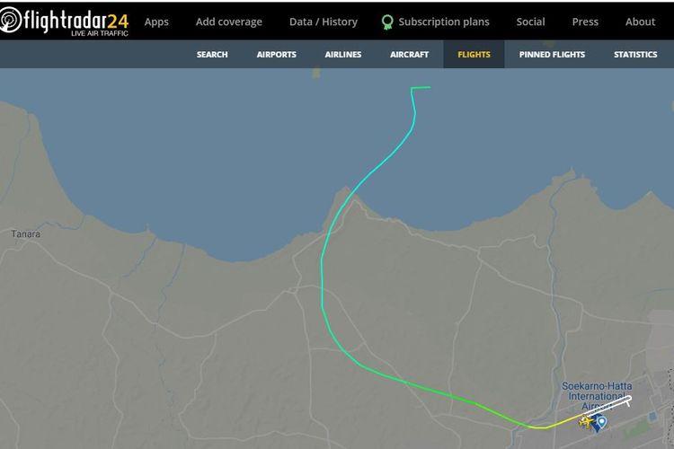 Rekaman penerbangan pesawat Sriwijaya Air SJ 182 yang terekam pada flightradar24.com.
