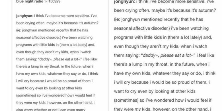 Pengakuan Jonghyun SHINee memiliki SAD