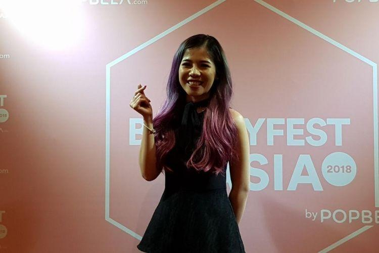 Beauty Vlogger asal Vietnam Trang Ngo atau dikenal Chang Makeup di BeautyFest Asia, Jakarta, Sabtu (17/3/2018).