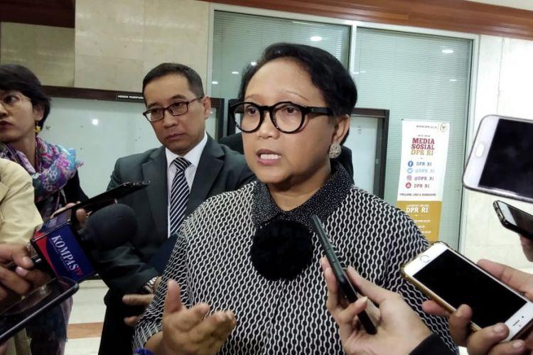Menteri Luar Negeri Retno Marsudi saat ditemui seusai Rapat Kerja dengan Komisi I di Kompleks Parlemen, Senayan, Jakarta, Kamis (31/1/2019).