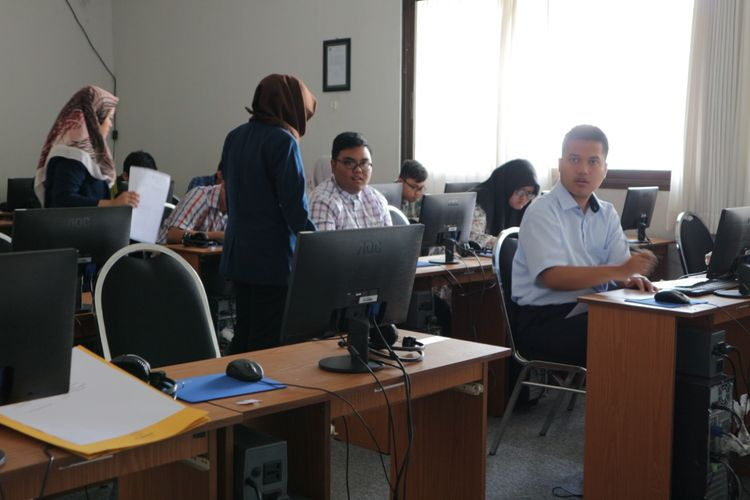 Peserta Seleksi Mandiri Penyandang Disabilitas (PMPD) Universitas Brawijaya, Kota Malang, Selasa (16/7/2019).