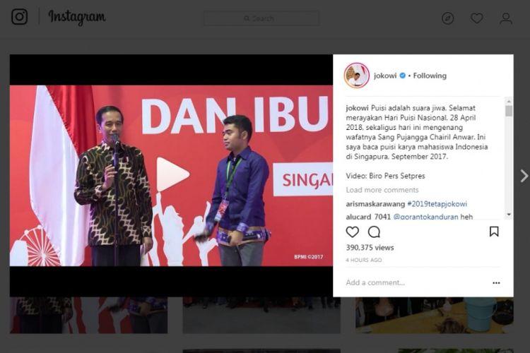 Presiden Joko Widodo mengucapkan selamat Hari Puisi Nasional melalui Instagram miliknya, Sabtu (28/4/2018).