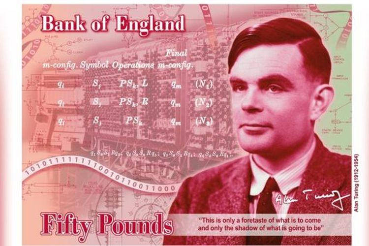 Ilustrasi Alan Turing di mata uang Inggris pecahan 50 poundsterling