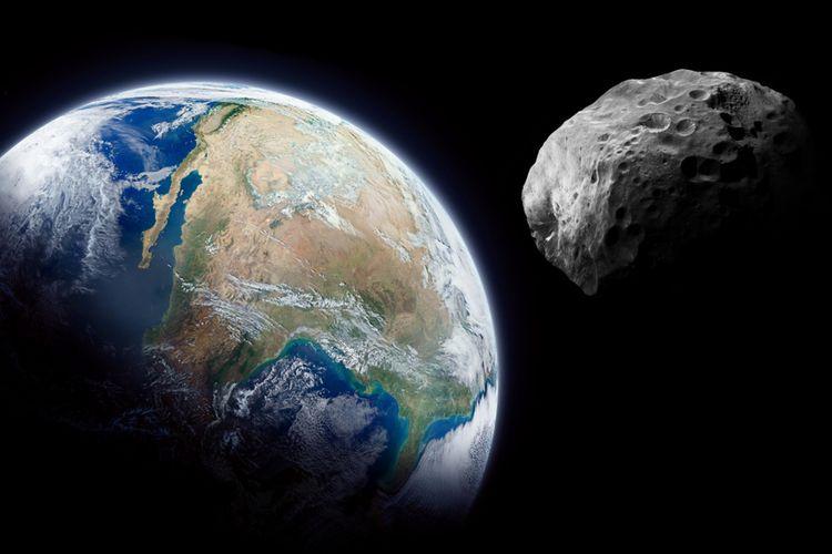 Ilustrasi asteroid dekat Bumi.