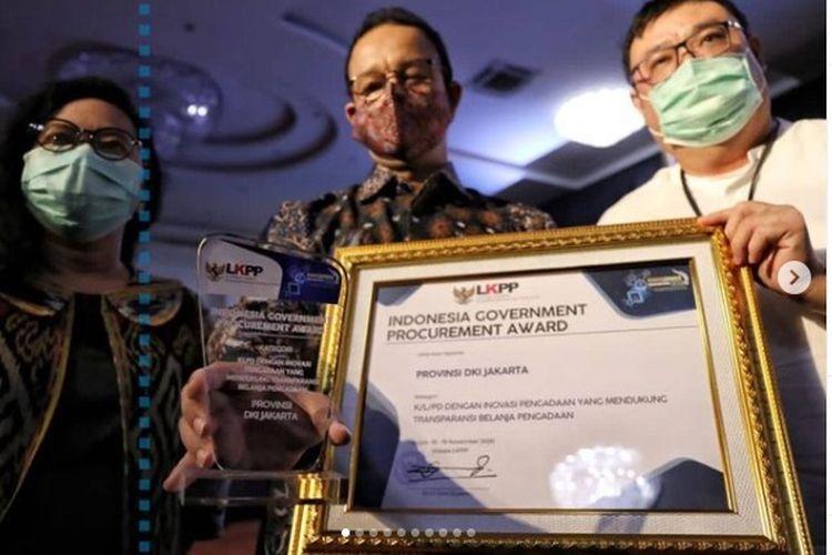 Pemprov DKI Jakarta meraih penghargaan Indonesia Government Procurement Award yang diselenggarakan Lembaga Kebijakan Pengadaan Barang/Jasa Pemerintah (LKPP) RI.