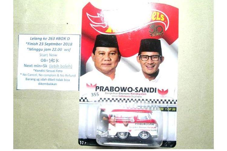 Mobil Hotwheels jenis Volkswagen Kool Combi, bergambar Prabowo-Sandiaga ini dilelang dengan harga mulai Rp 140.000.